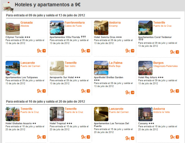 oferta hoteles a 9 euros destinia