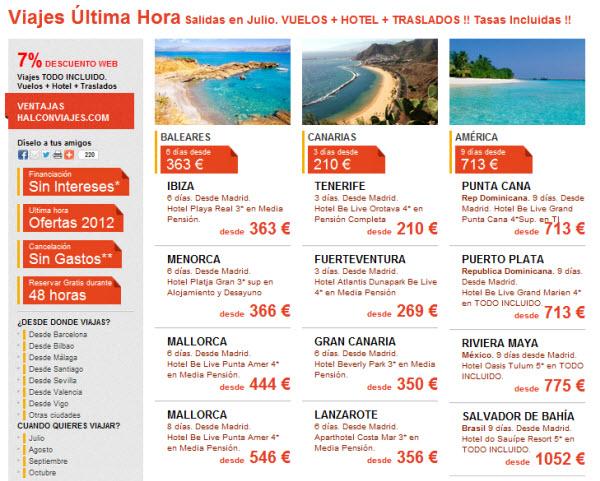 viajes de ultima hora para Julio 2012