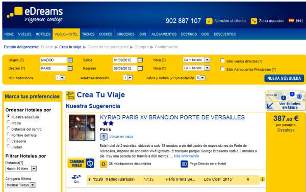 Ofertas de vuelo + hotel Septiembre 2012
