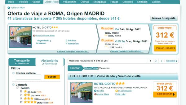 Ofertas de vuelos más hotel en Agosto 2012