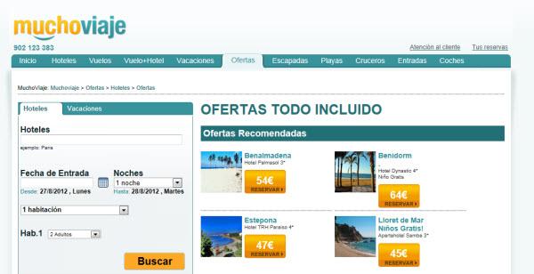 Viajes todo incluido para Septiembre 2012