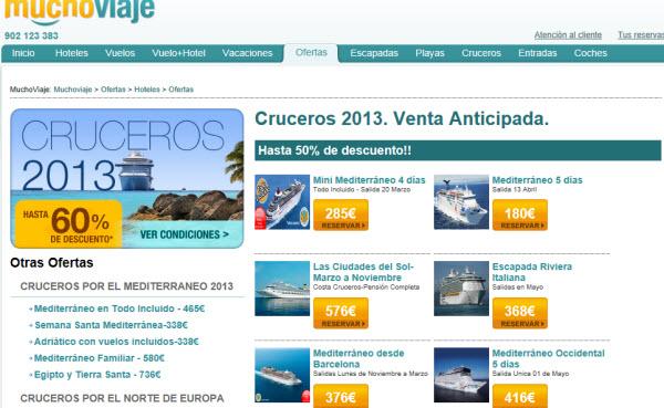 reservar cruceros para 2013