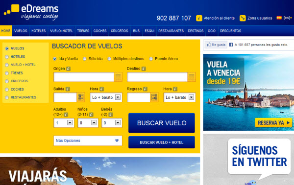 Ofertas de vuelos nacionales en Edreams