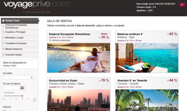 Ventas privadas de viajes: club exclusivo de grandes descuentos