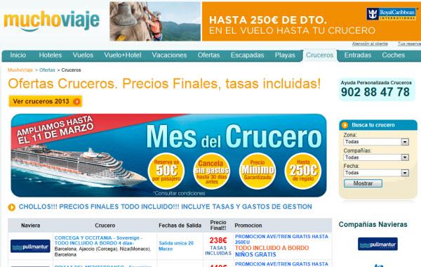 Ofertas cruceros 2013