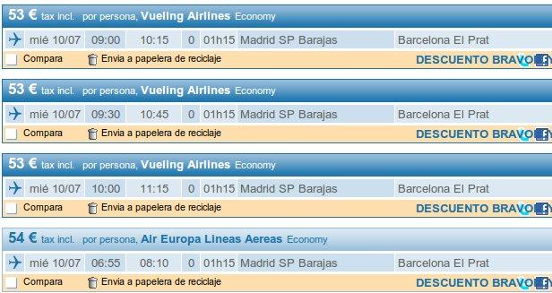 vuelos baratos Madrid Barcelona