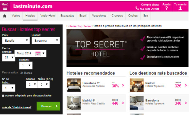 hoteles top secret lastminute