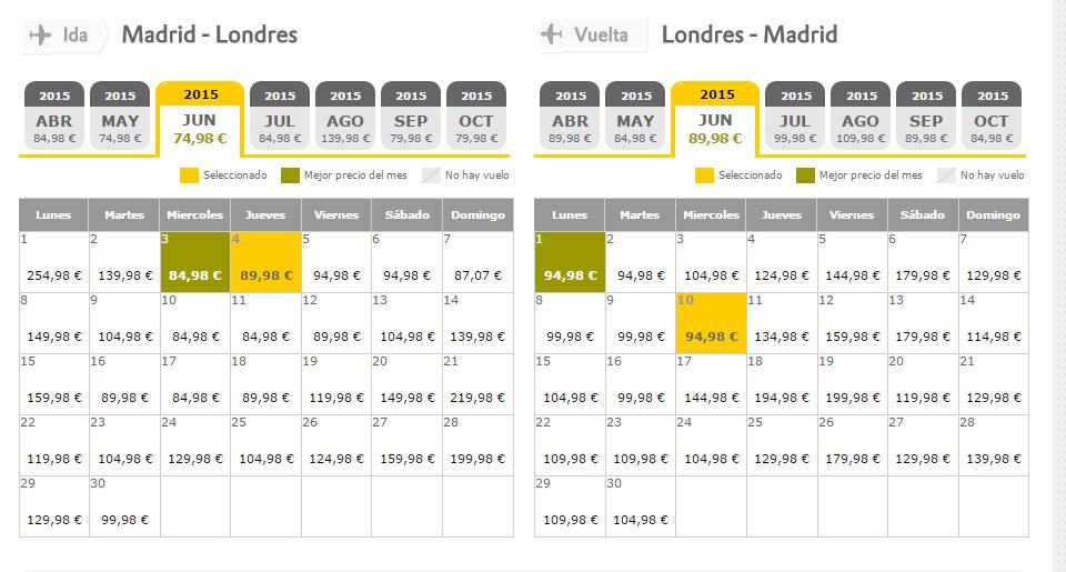 calendario de precios vueling 2015