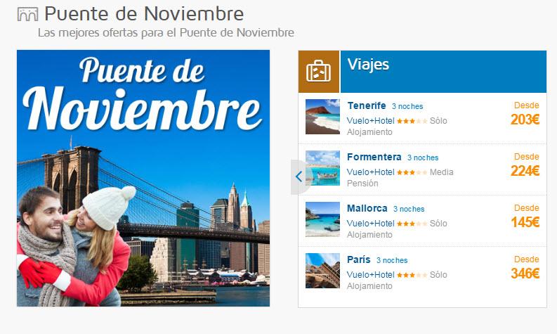 vuelo mas hotel puente de noviembre