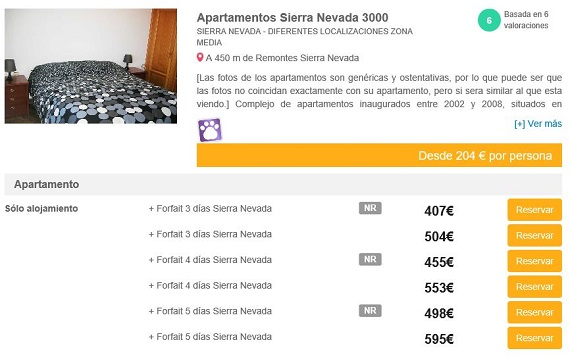 apartamentos con forfait Sierra Nevada